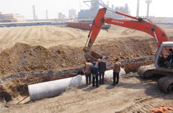 包头南部污水工程施工现场